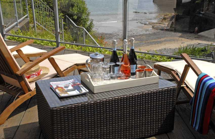 Refreshments overlooking Waterwynch Beach