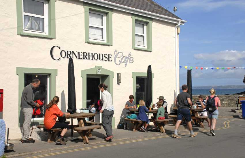 Little Havens Cornerhouse Cafe by the beach has outside seating and a great section of cakes, sandwiches and ice cream