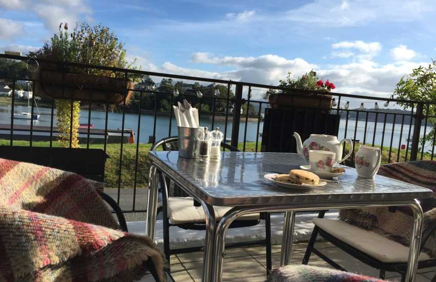 Moorings Bistro overlooking the beautiful and tranquil bay of Borth-y-Gest, the restaurant is open for breakfast, lunch and dinner