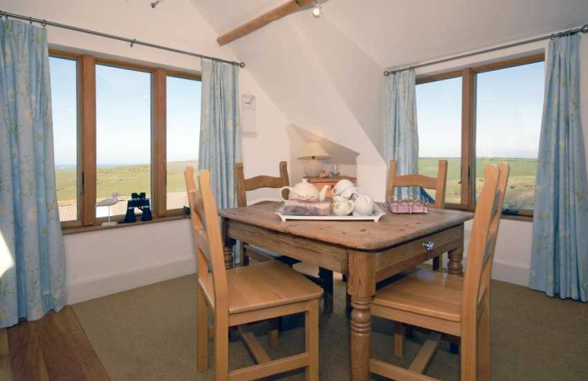 Self catering Strumble Head farmhouse with sea views - dining area