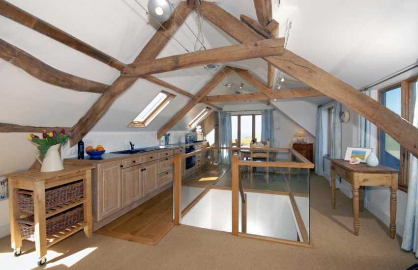 North Pembrokeshire Pwll Deri farm apartment - open plan kitchen living area