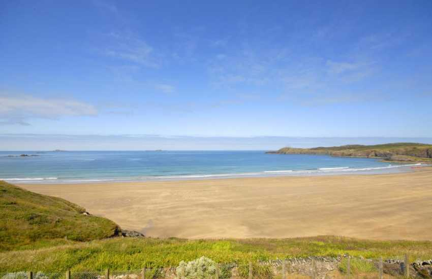 Stunning sea views over Whitesands Bay from the first floor double bedroom