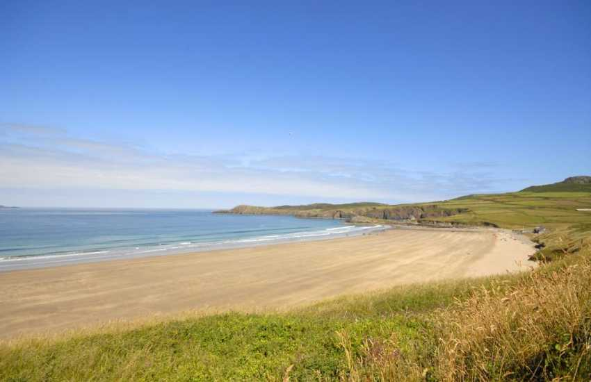 Fabulous sea views over the beach at Whitesands from the gardens at Craig yr Awel