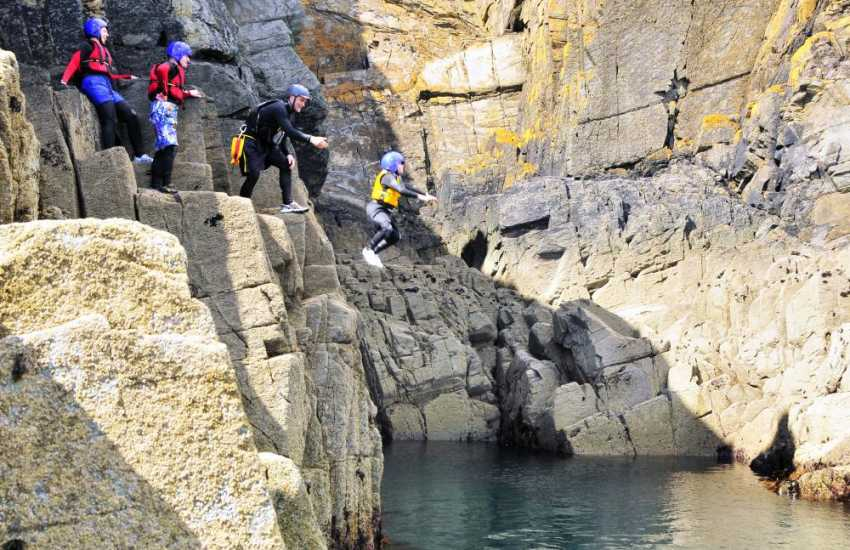 The Blue Lagoon at Abereiddy is a great location for coasteering