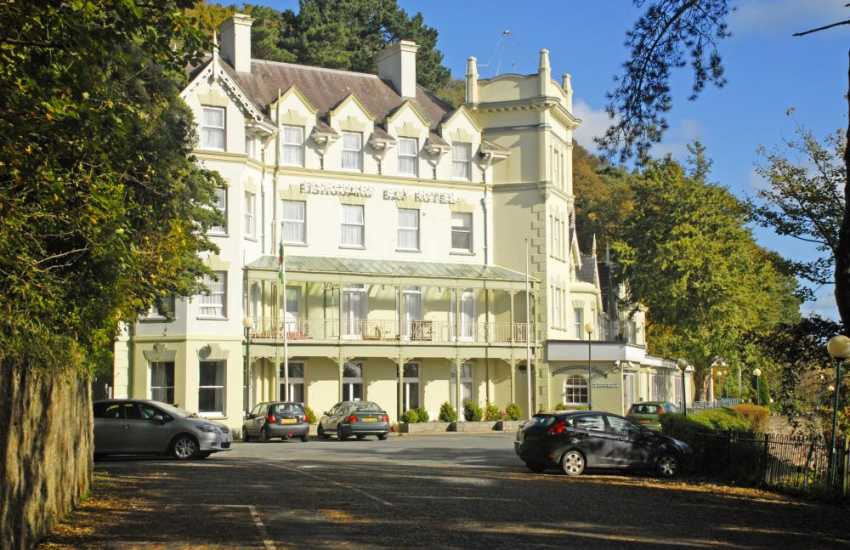 The impressive Bay Hotel with Victorian interiors and large conservatory restaurant overlooking sub tropical gardens