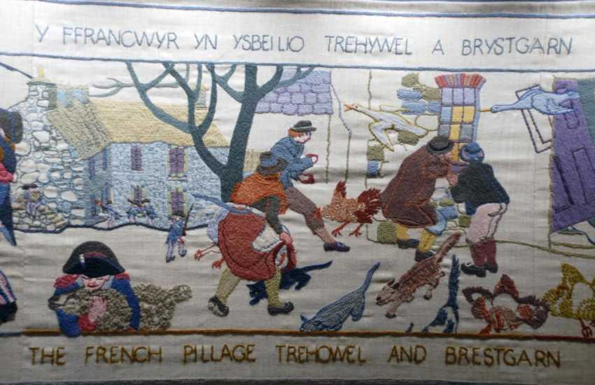 The internationally famous 'Last Invasion Tapestry' is on display at Fishguard Town Hall - 30.4m long by 53cm deep and took four years to complete by seventy-seven local people