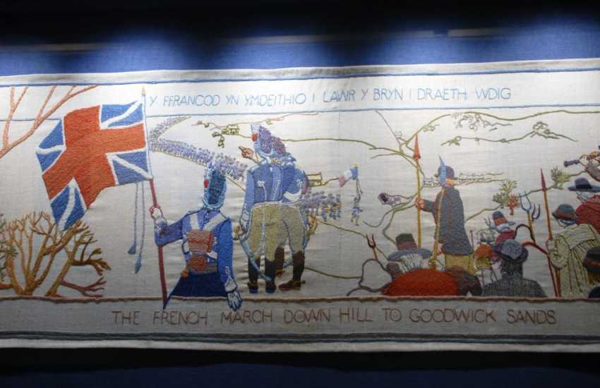 The internationally famous Last Invasion Tapestry hangs in Fishguard's Town Hall - magnificent at 32 metres long!