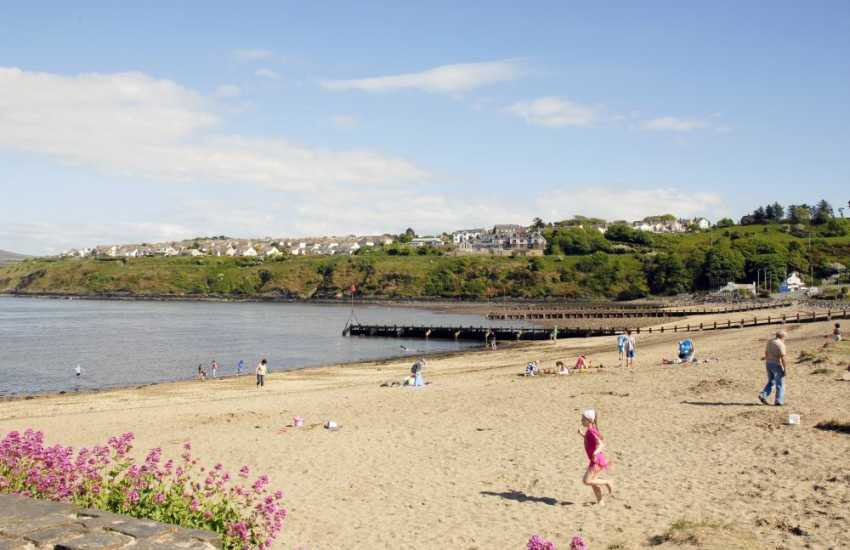 The sandy Goodwick beach, next to a pleasant breakwater and the Goodwick Ocean lab, with an excellent cafe serving homemade food and snacks