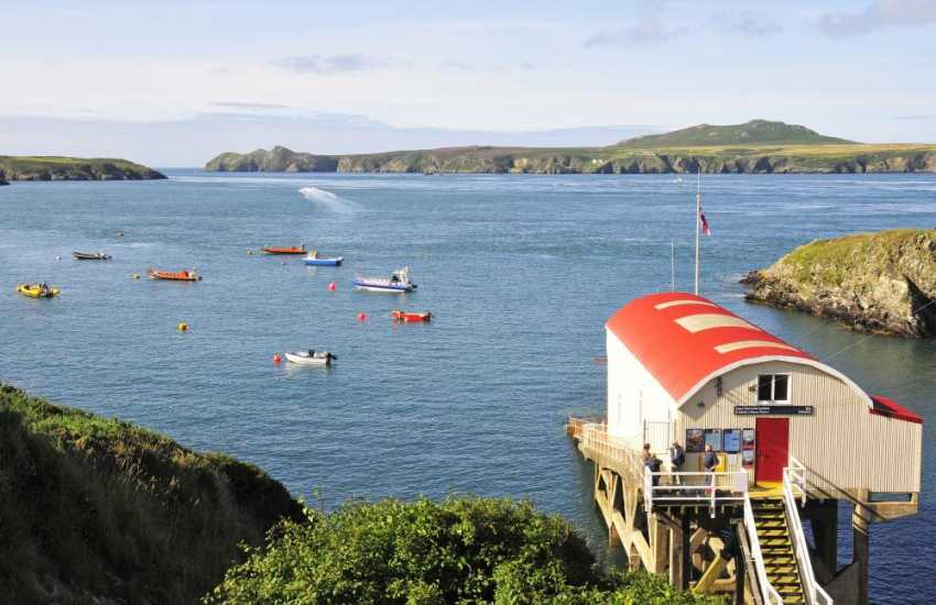 St David's Lifeboat Station at St Justinians with fabulous views over to Ramsey Island