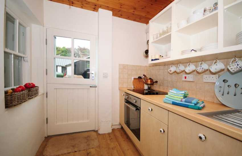 Galley kitchen in cottage close to the beach