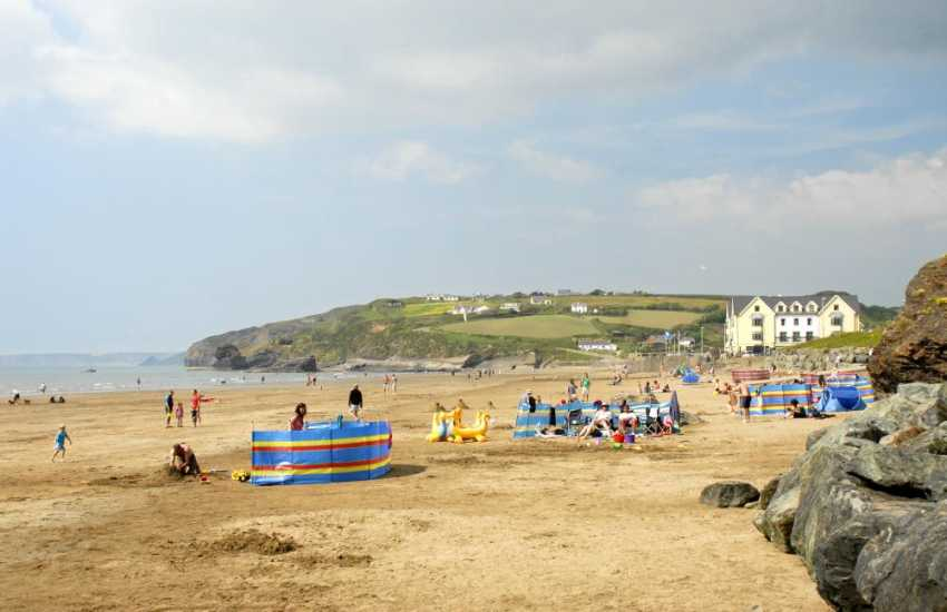 Broad Haven Beach (Blue Flag) is a glorious expanse of golden sand - popular with families and great for ball games, swimming and canoeing