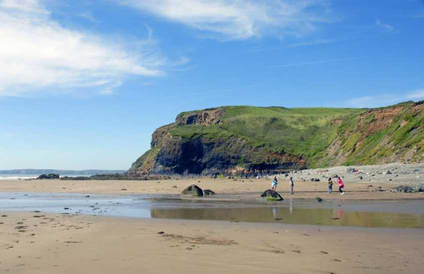 Druidston Haven's beautiful unspoilt beach is bounded by towering rock faces, home to a wide variety of sea birds and more than a mile of smooth, golden sands at low tide