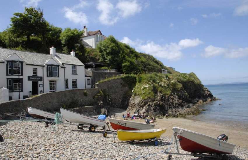 The Swan pub at Little Haven overlooks the beach and serves excellent food