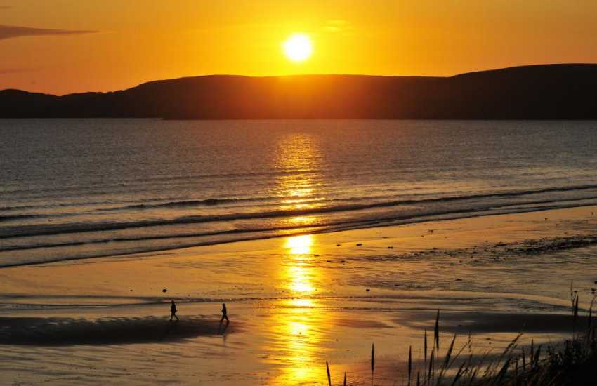 A North Pembrokeshire sunset over the beach at Newgale