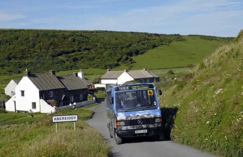 The 'Strumble Shuttle' hail and ride bus around the North Pembrokeshire peninsula. Leave your car at home. No fuss, take a bus