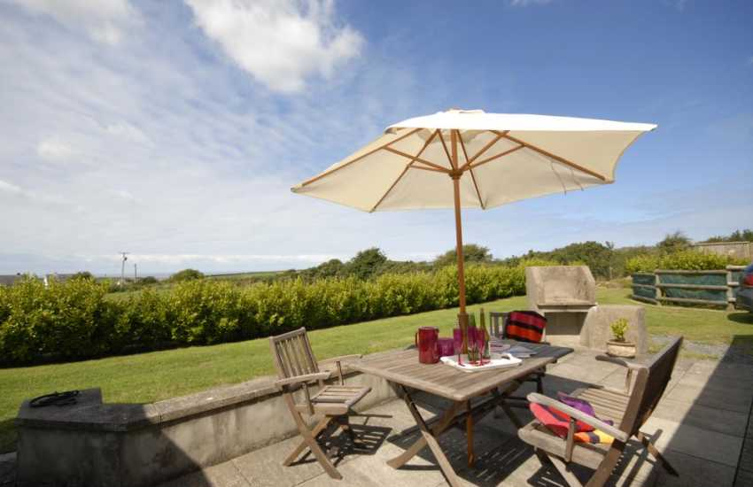 Pembrokeshire barn with coastal views from the private patio area