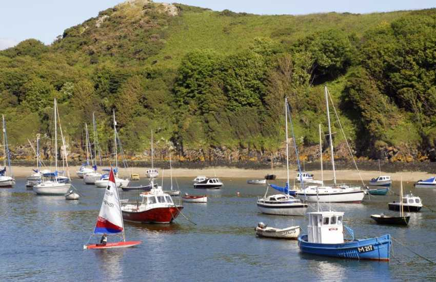 Pretty sailing boats in the harbour at Solva