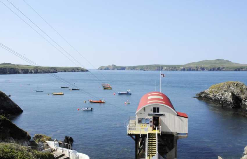 St Justinians' lifeboat station - Island cruises start from the slipway here