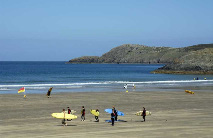 Whitesands Bay (Blue Flag) is one of the best beaches in Pembrokeshire. Popular for swimming, surfing and water sports of all sorts with surf hire and surfing lessons available at the beach