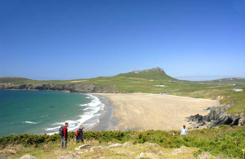 Whitesands Bay has a (Blue Flag) status and is manned by a lifeguard during the summer, Well known by surfers.