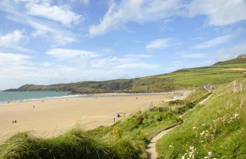 Whitesands beach (Blue Flag) is one of the best beaches in Wales - popular with surfers and families