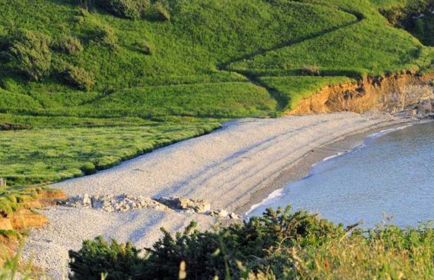 Far-reaching views across abermawr Cove