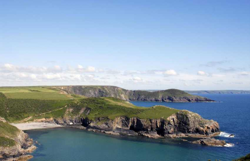 The coast path from Solva Quay takes you over the Gribin Headland to pretty Gwadan Cove (N.T.)