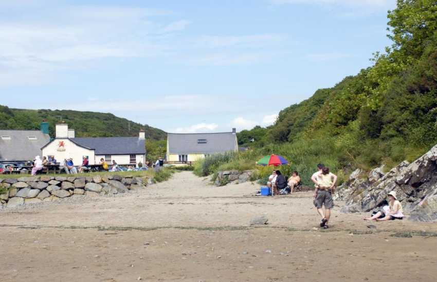 The sandy harbour foreshore at Lower Solva
