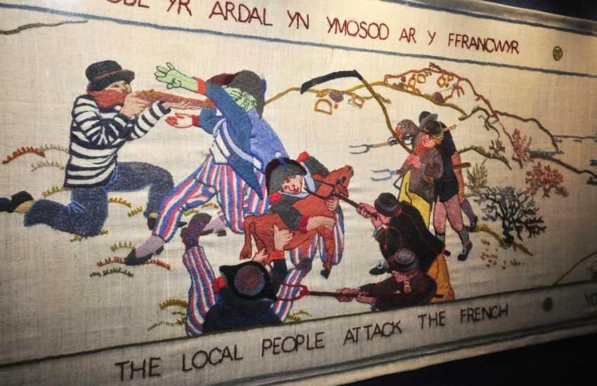 The Last Invasion Tapestry in Fishguard's Town Hall - internationally famous and has been compared to the Bayeux Tapestry and well worth a visit