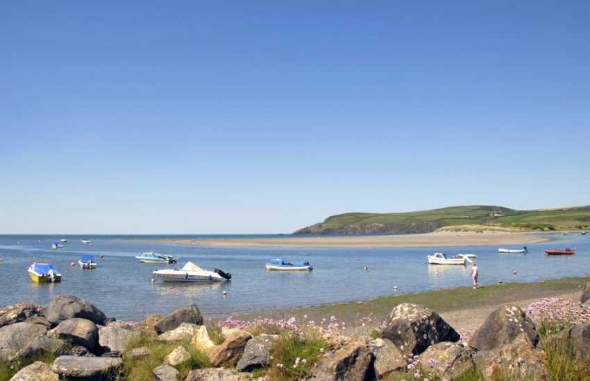 Newport Sands - one of the best beaches in Pembrokeshire backed by beautiful white sand dunes and with a lovely estuary which meets the sea at the south end of the beach