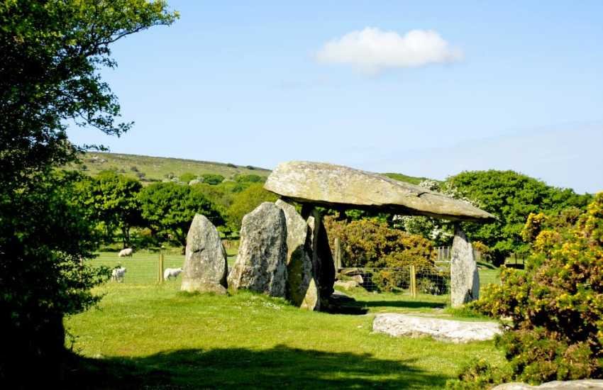 Pentre Ifan overlooking Fishguard Bay is one of the finest megalithic burial chambers in Wales with a huge capstone weighing well over 16 tons and dating back to 4000BC