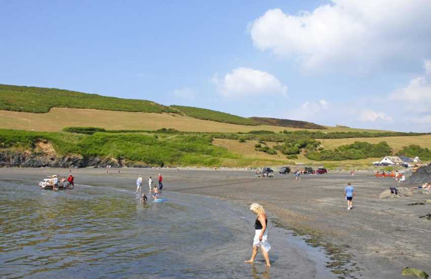 A short walk from the neighbouring beach Cwm-yr-Eglwys brings you to the beach Pwllgwaelod. It is a good beach for launching small craft, rock pooling and having a swim- also there is an excellent small restaurant located practically on the beach!