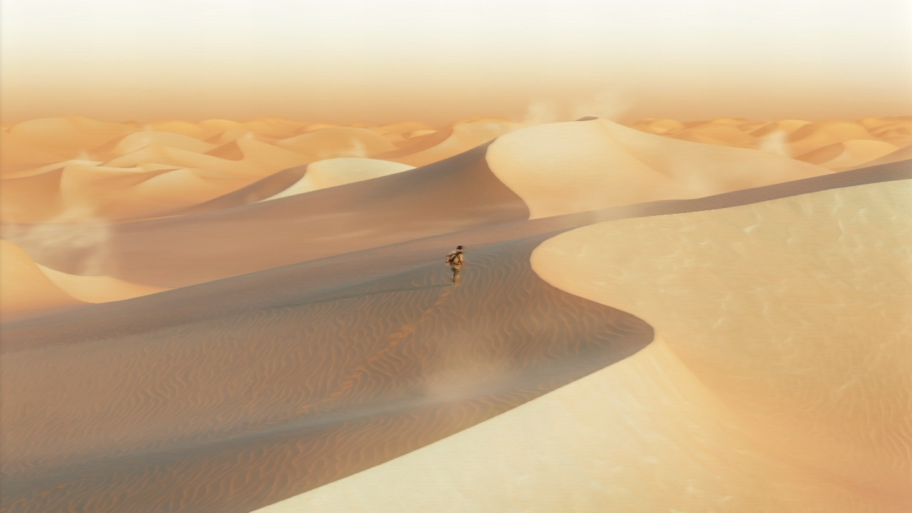 Nathan Drake crosses an endless desert in Uncharted 3