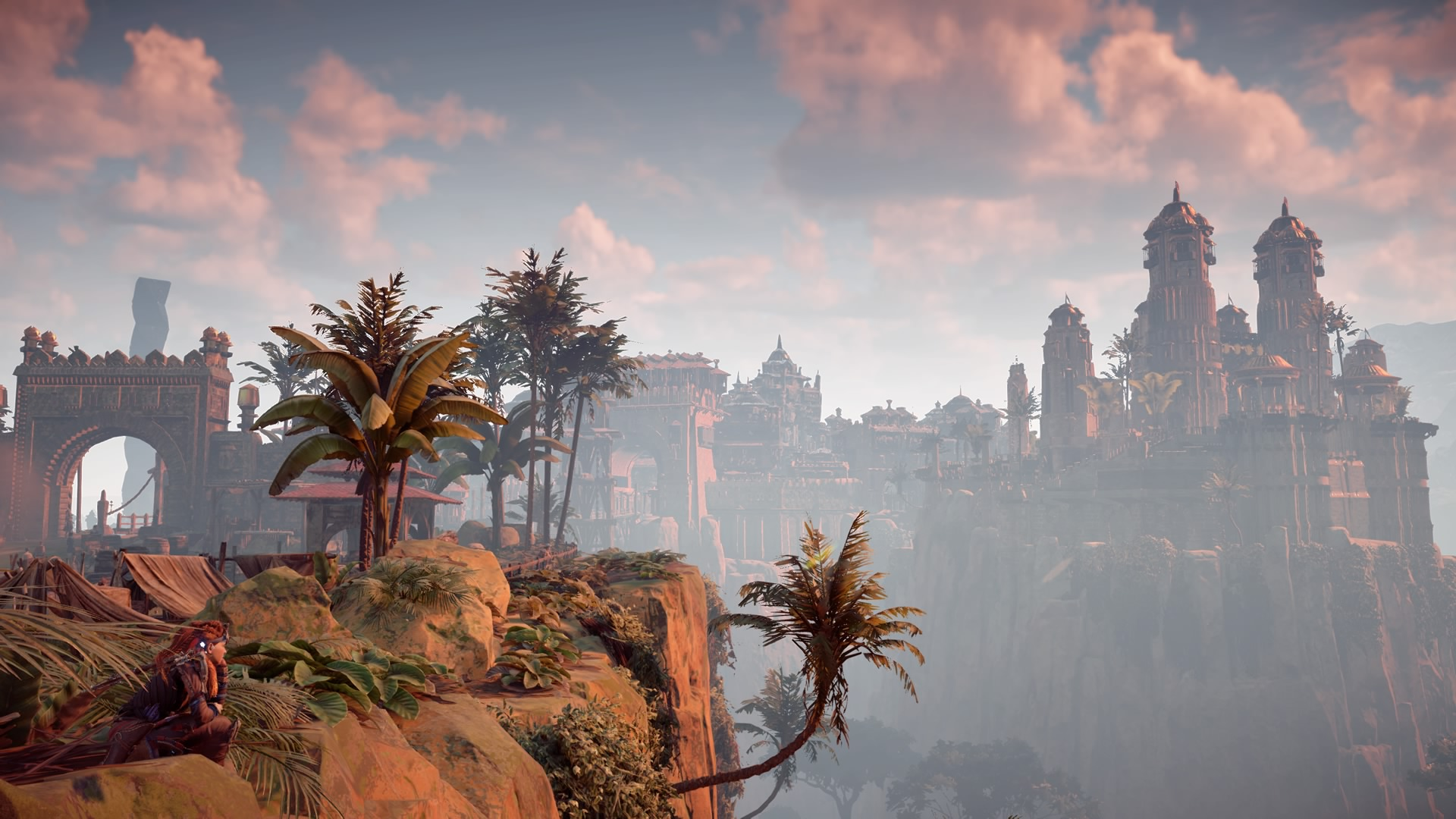 Aloy near the entrance to the city of Meridian in Horizon Zero Dawn