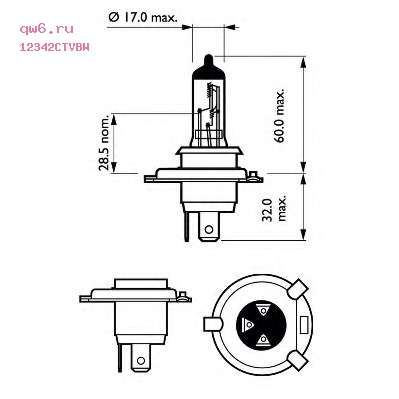 Фото запчасти Лампа H4 (60/55W) P43t-38 CityVision Moto 40 12V 12342CTV BW (1) 39896030