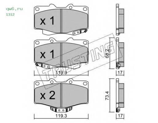 Комплект тормозных колодок, дисковый тормоз 1312 TRUSTING