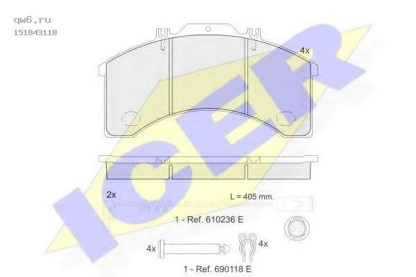 Комплект тормозных колодок, дисковый тормоз 151043110 ICER