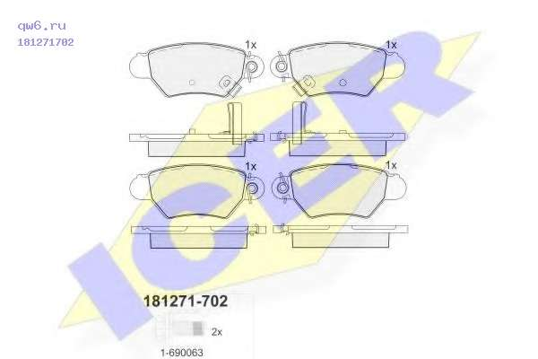 Комплект тормозных колодок, дисковый тормоз 181271702 ICER