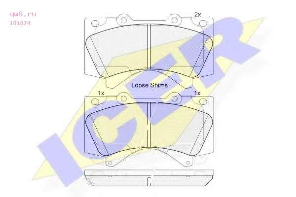 Комплект тормозных колодок, дисковый тормоз 181874 ICER