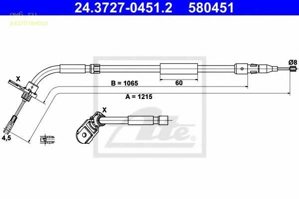 Фото запчасти Трос стояночной тормозной системы 24.3727-0451.2