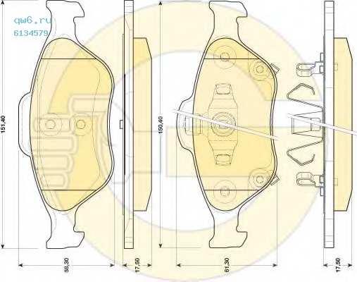 Колодки тормозные дисковые  6134579 GIRLING