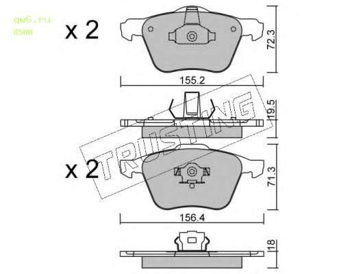 Фото запчасти Комплект тормозных колодок, дисковый тормоз 850.0