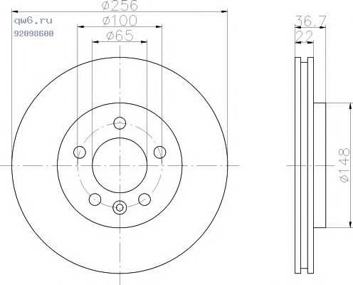 Фото запчасти Диск торм. AUDI/VW TT/A3/GOLF/BORA/OCTAVIA QUATTRO задний 1 шт (min 2