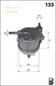 Фильтр топливный ELG5242 MECAFILTER