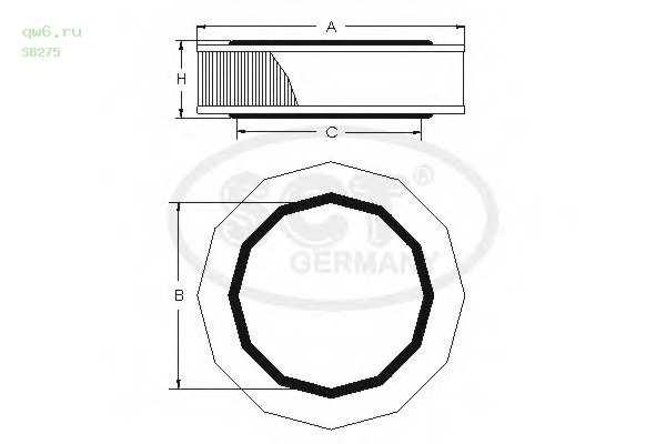 Воздушный фильтр RENAULT/PEUGEOT PEU.307/PEU.308 2.0D/MEGANE 1.4 SB275 SCT
