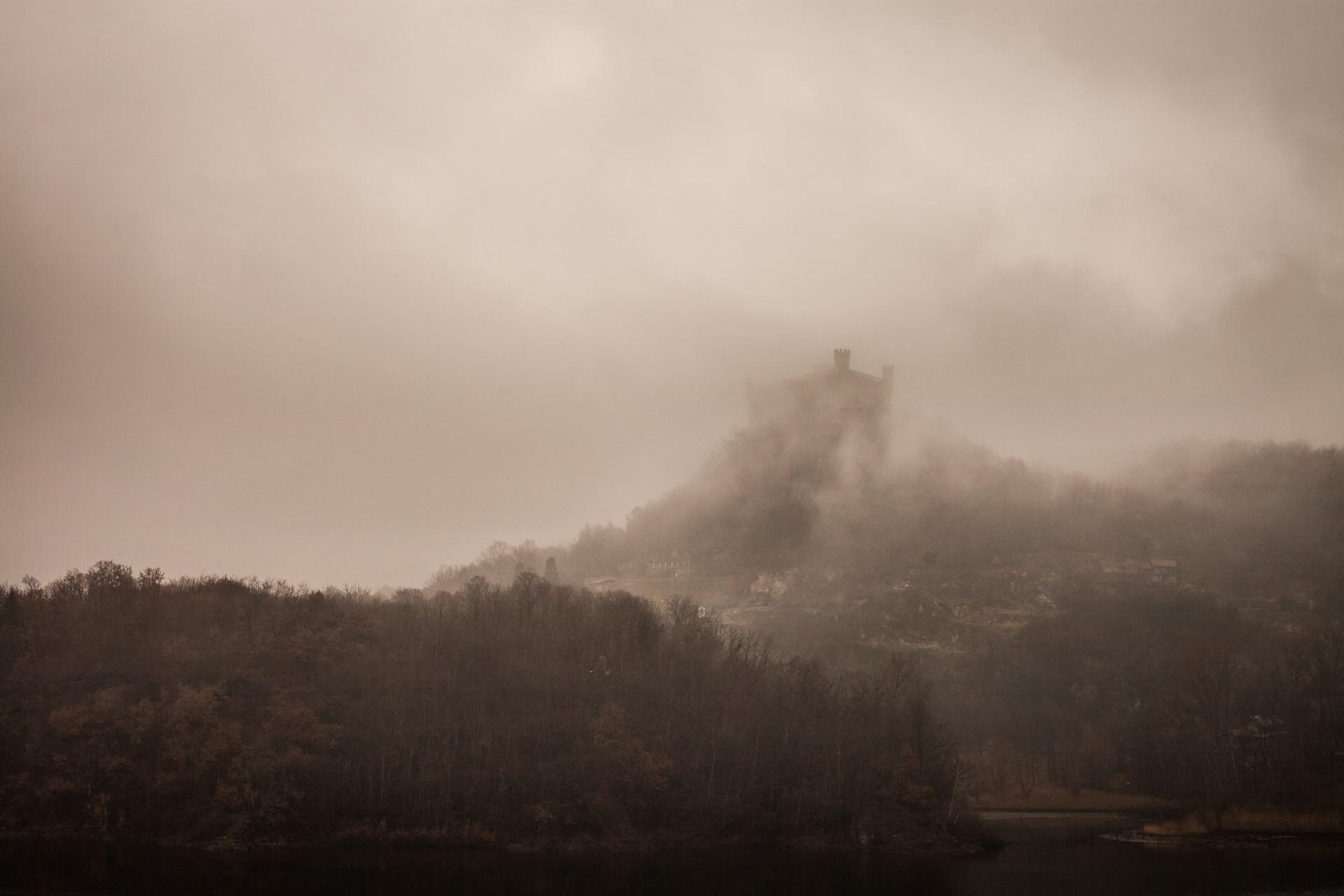 Castle on lake in cloud