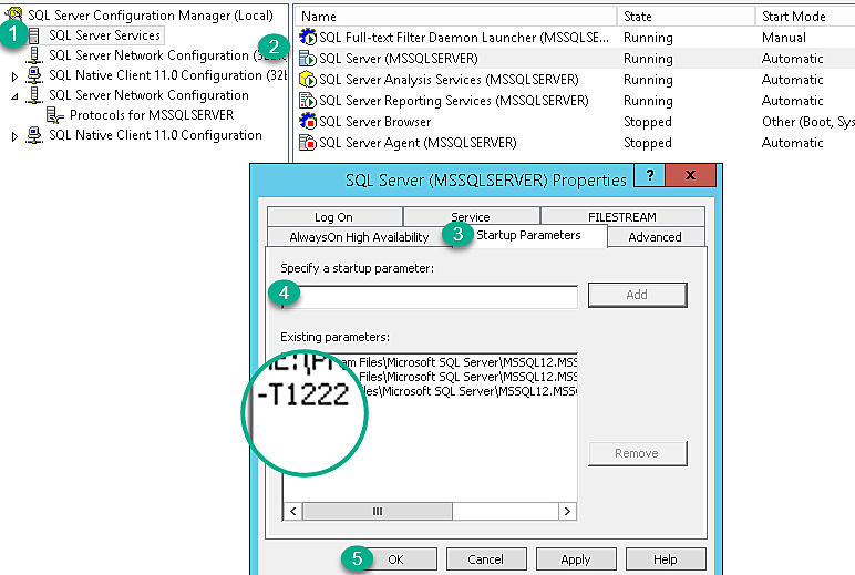 Where to setup the startup trace parameter