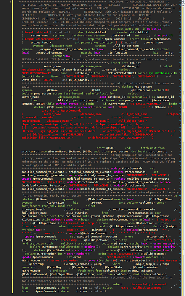 Beautiful Minified Sql Code