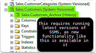 SSMS 2016 View Of Temporal Table