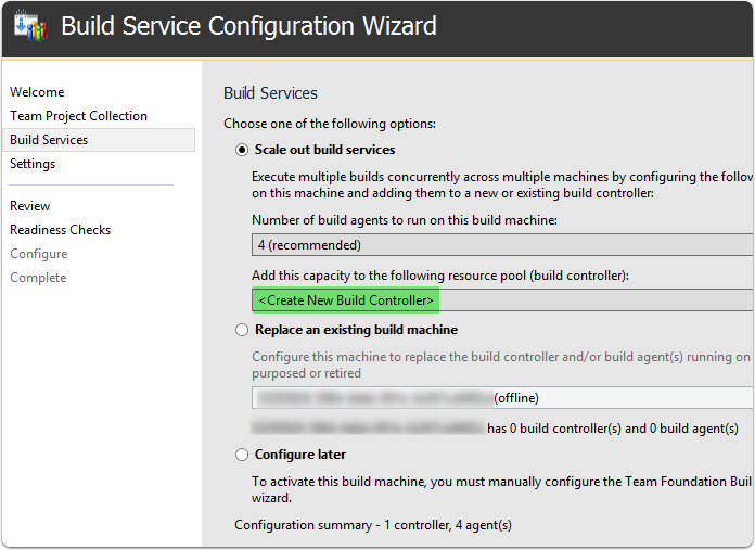 Choose configuration options for the build services